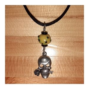 Rose Skull And Glass Bead Necklace